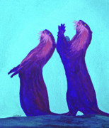Otter Paintings - Lunchtime by Margaret Saheed