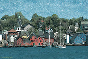 Red Buildings Drawings Framed Prints - Lunenburg Nova Scotia 2 - Canada Watercolor Framed Print by Peter Art Print Gallery  - Paintings Photos Posters