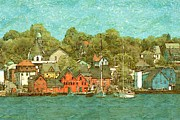 Canadian Artist Drawings Posters - Lunenburg Nova Scotia - Canada Watercolor Poster by Peter Art Print Gallery  - Paintings Photos Posters