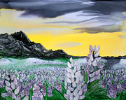 Snowy Night Paintings - Lupin Dawn by Wendy Wilkins