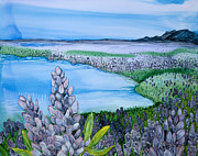 Snowy Night Paintings - Lupin Lake by Wendy Wilkins