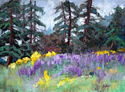 Nobody Pastels Metal Prints - Lupine Hill Metal Print by Arlene Baller