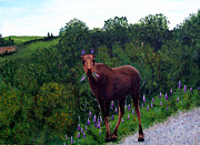 Lupines Paintings - Lupine Loving Moose by Barbara Griffin