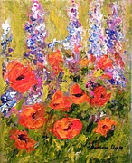Lupines Paintings - Lupines and Poppies by Barbara Pirkle
