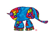Studio Drawings Framed Prints - Lupita Elephant Framed Print by Emily Lupita Studio