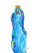 Queen Mary Drawings - Lupita Guadalupe in Blue by Emily Lupita Studio
