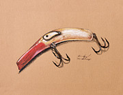 Angling Drawings - Lure by Aaron Spong