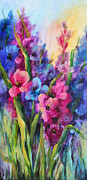 Gladiolas Paintings - Luscious Glads by Elaine Bailey