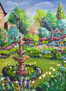Garden Scene Paintings - Lush Garden by Stacy Ingram