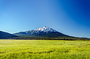 Mt. Bachelor Framed Prints - Lush Green Meadow and Mount Bachelor Framed Print by Jess Kraft