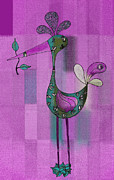 Lutgarde's Bird - 061109106-purple Print by Variance Collections