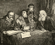 Martin  Luther Prints - Luther Melancthon Pomeranus and Cruciger translating  Print by English School