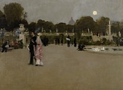 Pond In Park Painting Prints - Luxembourg Gardens at Twilight Print by John Singer Sargent