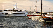 Moored Photos - Luxury boats at St.Tropez by Elena Elisseeva