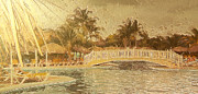 Bahamas Landscape Paintings - Luxury gold swim pool by Odon Czintos