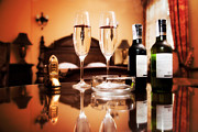 Wine Service Photo Metal Prints - Luxury interior hotel room with elegant service Metal Print by Michal Bednarek