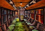 Lounge Posters - Luxury Trolley Train Poster by Susan Candelario