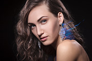 Face Jewelry Prints - Luxury woman with diamond earrings Print by Pavlo Kolotenko