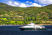Yacht Photo Prints - Luxury yacht at the coast of French Riviera Print by Elena Elisseeva