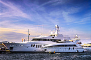 Sunset Photos - Luxury yachts by Elena Elisseeva