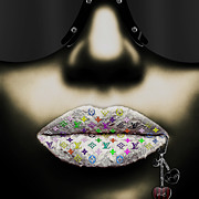 Lips Digital Art Posters - LV Dark Silver Poster by Jean-Raphael Designs