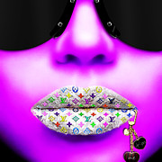 Lips Digital Art Posters - LV Soft Purple Poster by Jean-Raphael Designs