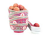 Background White Prints - Lychees in bowls with spoons Print by Jane Rix
