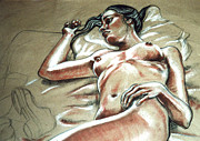 Female Nude Pastels - Lying in Wait by John Ashton Golden