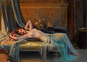 Table Lamp Framed Prints - Lying Nude In A Bed Of Roses Framed Print by Delphin Enjolras