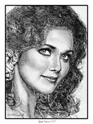 Closeups Drawings Framed Prints - Lynda Carter in 1978 Framed Print by J McCombie