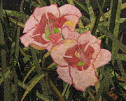 Fabric Collage Tapestries Textiles Prints - Lyndas Daylilies Print by Lynda K Boardman