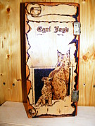 Cabin Wall Pyrography - Lynx and cubs by Egri George-Christian