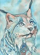 Blue Mushrooms Art - Lynx by Tamara Phillips
