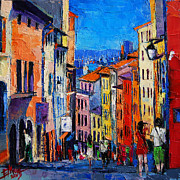 French Door Paintings - Lyon Colorful Cityscape by EMONA Art