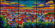 Mona Edulescu Paintings - Lyon Panorama Triptych by EMONA Art