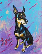 Doberman Pinscher Puppy Prints - Lyric Print by Dena Lowery