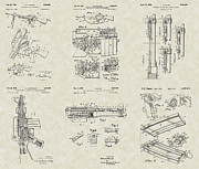 Technical Art Drawings Prints - M-16 Military Rifle Patent Collection Print by PatentsAsArt