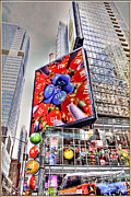 Tron Prints - M and M sign in New York CItry Print by Geri Scull