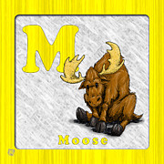 Animal Drawings Posters - M for Moose Poster by Jason Meents