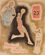 Jordan Drawings - M J by Michael McGrath