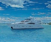 Luxury Painting Prints - M/Y Giga-Btye Print by Danielle  Perry