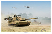 Iraq Prints Posters - M1A2 Abrams Poster by Mark Karvon