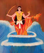 Warrior Goddess Paintings - Ma Bharati by Pratyasha Nithin