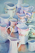 Pitchers Painting Metal Prints - Ma-Maws Cream Pitchers Metal Print by Sue Zimmermann