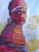 Maasai Painting Originals - Maasai Bride. by Nixon Mwangi