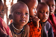 Primary Photo Framed Prints - Maasai children in school in Tanzania Framed Print by Michal Bednarek