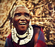 Apparel Posters - Maasai old woman portrait in Tanzania Poster by Michal Bednarek