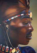 Maasai Painting Originals - Maasai Warrior  by Edgar Pretorius