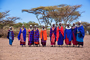 House Portrait Prints - Maasai women in their village in Tanzania Print by Michal Bednarek