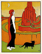 Archives Digital Art - Mable Dearmer. Book Plate. Queen looks upon her castle with black cat. by Pierpont Bay Archives